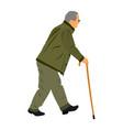 old man person with stick elder senior walking vector image vector image