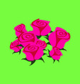 pink roses on a green background vector image vector image