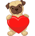 Puppy holding a red heart vector image