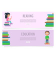 reading or education on two horizontal banners vector image vector image