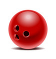 red glossy bowling ball isolated on white vector image vector image