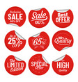 sale sticker shopping tag label red on vector image