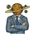 saturn head businessman sketch vector image vector image
