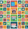 set modern flat shopping icons vector image