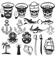 set nautical elements anchor fish shark ship vector image vector image