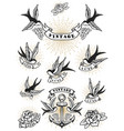 set swallow tattoo vintage anchor and roses vector image