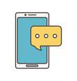 smartphone chat talk bubble social media icon vector image vector image