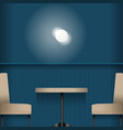table room light deep blue background vector image vector image