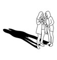 two woman using mobile phone with long shadow vector image vector image