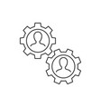 two workers cooperation linear icon on white vector image vector image