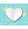 Valentines day white paper hand drawing on heart vector image vector image