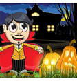 Vampire boy near the haunted house vector image vector image