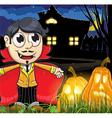 Vampire boy near the haunted house vector image