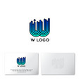 w letter linear logo water icon identity vector image