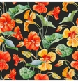 Watercolor nasturtium flower pattern vector image vector image
