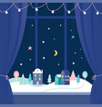 winter holidays window decorations snowy town at vector image vector image