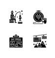 winter seasonal activity black glyph icons set vector image vector image