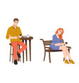 woman on bench and man in cafe with smartphones vector image vector image