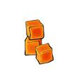 hand-drawn cheddar cheese cubes sketch style vector image