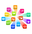 Software concept - cloud of colorful program icons vector image