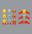 achievement ranking gold silver bronze medals vector image