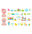 baby s toys collection icons vector image vector image