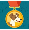 Background with gold medal and dog champion vector image