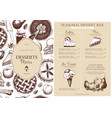 baking menu design template vector image vector image