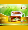 black tea advertising realistic composition