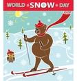 Brown bear skiing World Snow day vector image