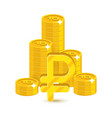 bunch gold rubles isolated cartoon vector image vector image
