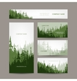 Business cards design with green forest background vector image vector image