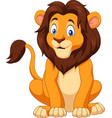 cartoon happy lion sitting vector image vector image