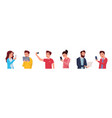 cheerful cartoon people communicate via internet vector image