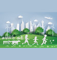 children running in the city park vector image vector image