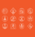 coffee farmer line badge design vector image vector image