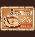 coffee retro plate metal rusty poster cafe vector image vector image