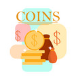 coins stack money bag cartoon vector image vector image
