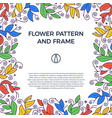 colorful hand drawn floristic frame border with vector image