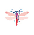 cute colorful dragonfly insect top view vector image vector image