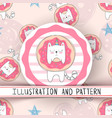 cute unicorn cat - seamless pattern vector image vector image