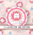 cute unicorn cat - seamless pattern vector image