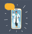 doctor on phone screen vector image vector image