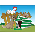 dog squirrel and hen with a bone in foreground vector image