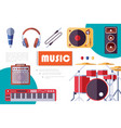 flat musical instruments composition vector image vector image