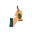 flat style icon with male hand holding beer bottle vector image vector image