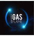 gas flame blue fire effect neon light vector image