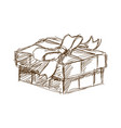 giff box with bow at black and white engraving vector image