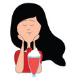 girl drinking cocktail on white background vector image