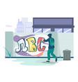 graffiti art artist teenager wearing hoodie vector image